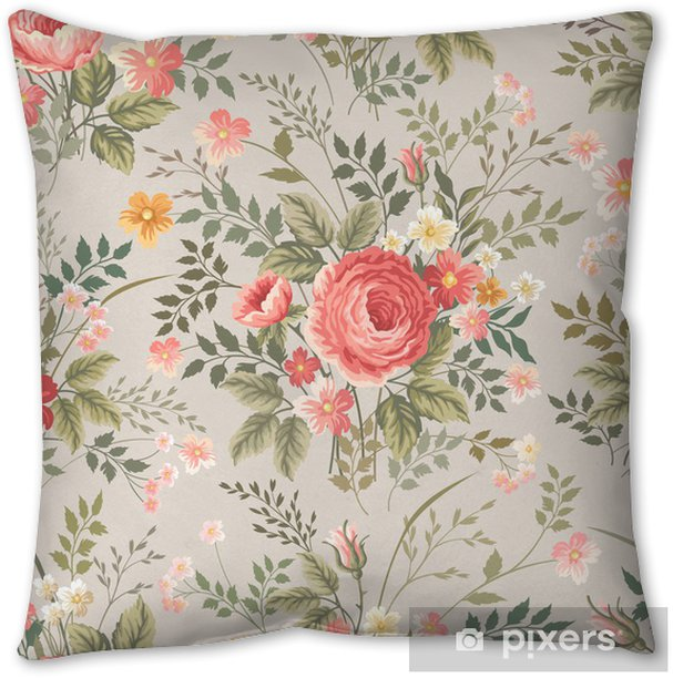Seamless Floral Pattern With Roses Throw Pillow Pixers We Live To Change