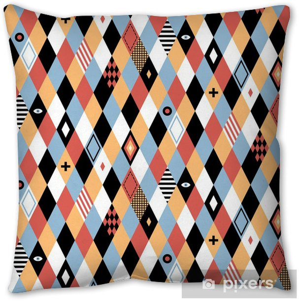 Seamless geometric pattern in flat style with colorful rhombuses. Useful for wrapping, wallpapers and textile. Throw Pillow - Graphic Resources