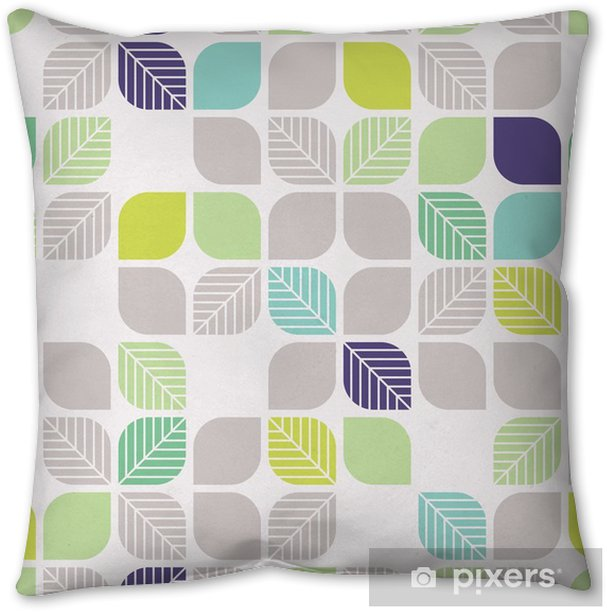 seamless geometric pattern with leaves Throw Pillow - Graphic Resources