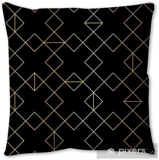 Seamless gold geometric pattern with line rhombus Throw Pillow - Graphic Resources