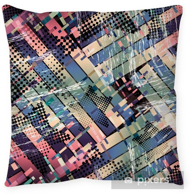 Seamless pattern glitch design. Cyberpunk background. Digital gradient print. Textile print for bed linen, jacket, package design, fabric and fashion concepts. Throw Pillow - Graphic Resources