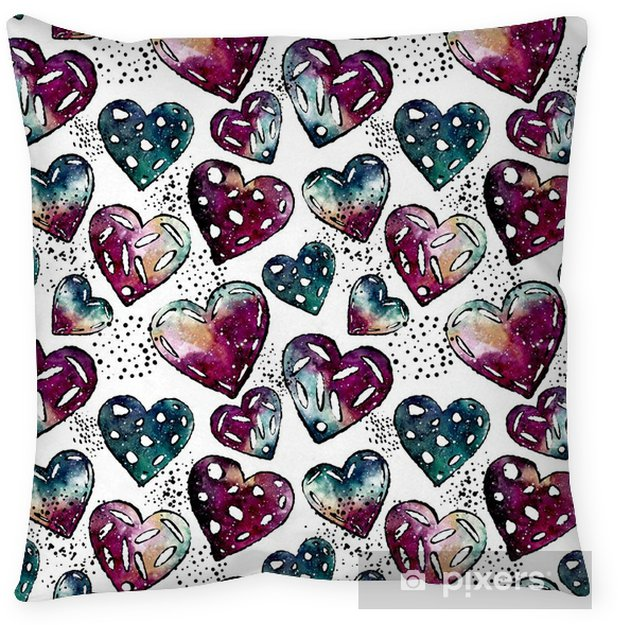 Seamless Pattern of Black Dots and Watercolor Hearts Throw Pillow - Graphic Resources