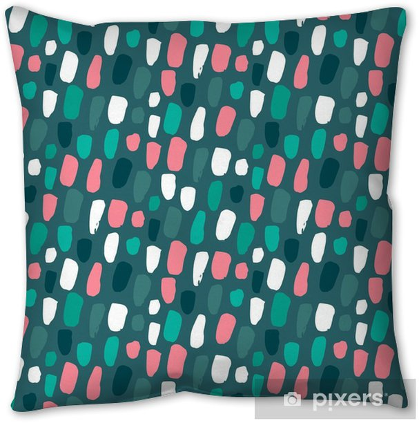 Seamless pattern with hand drawn abstract confetti texture. Throw Pillow - Kale Green Pantone