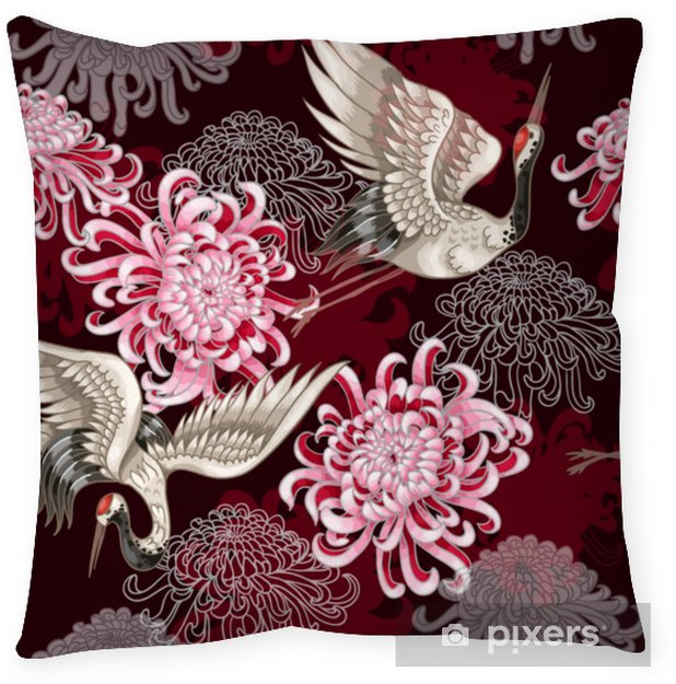 Seamless pattern with Japanese white cranes and chrysanthemums on a claret background for textile design Throw Pillow - Animals
