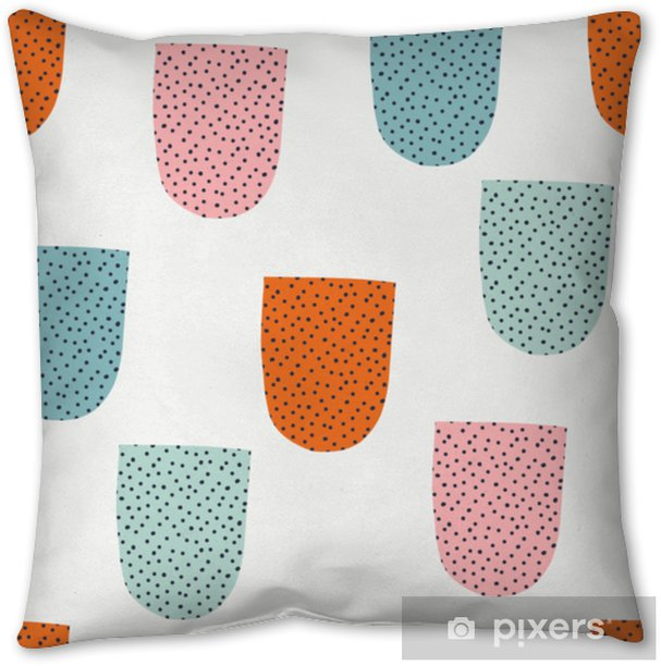 Seamless pattern with modern floral and abstract elements in fresh pastel colors. Throw Pillow - Hobbies and Leisure