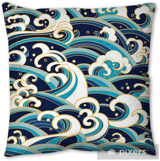 seamless pattern with water waves and splashes Throw Pillow - Landscapes