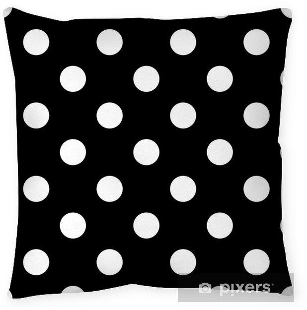 Seamless polka dot black and white Throw Pillow - Graphic Resources