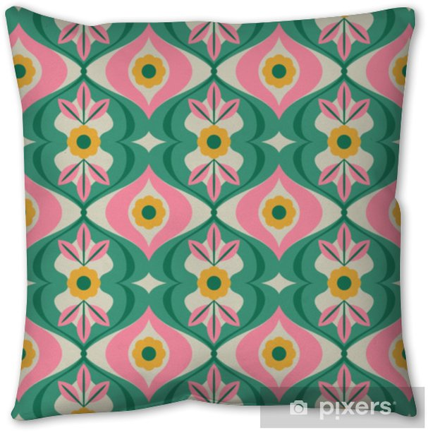seamless retro pattern with flowers and leaves Throw Pillow - Graphic Resources