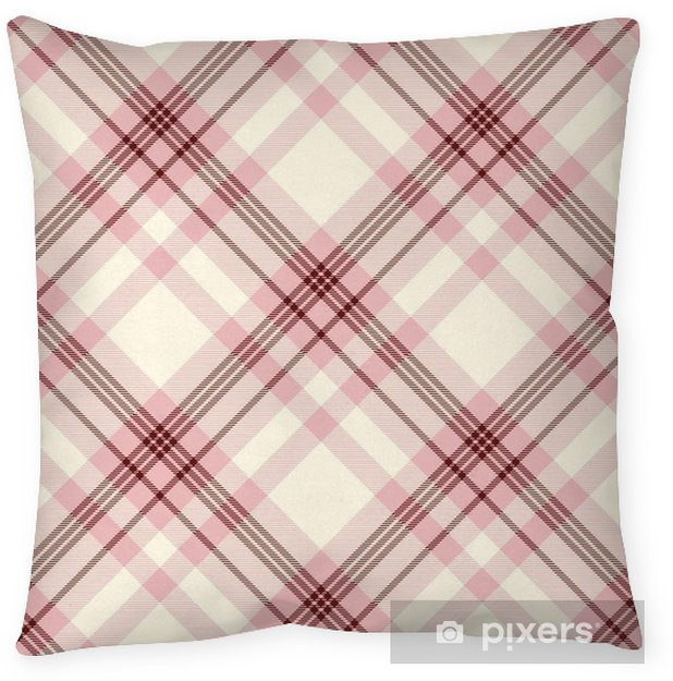 Dark Red Throw Pillows.Seamless Tartan Plaid Pattern Traditional Checker Texture In Pink Cream And Dark Red Throw Pillow