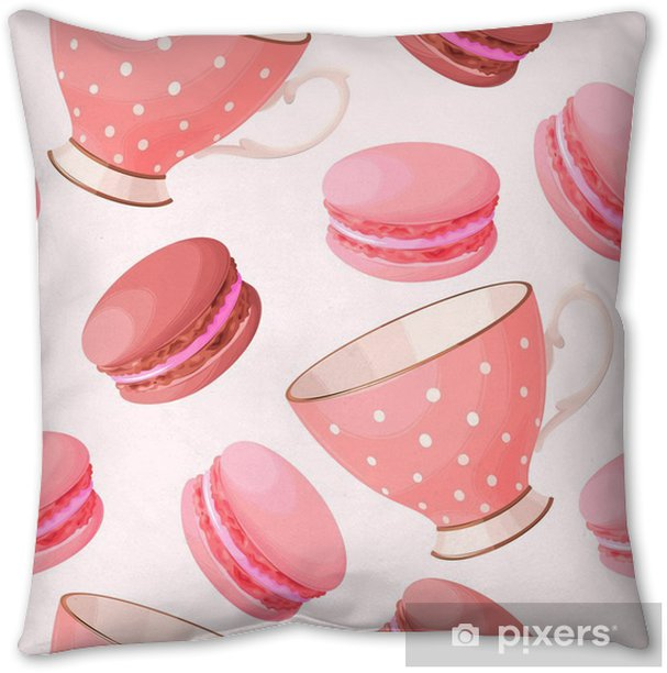 Seamless Teacups And Macarons Throw Pillow Pixers We Live To Change