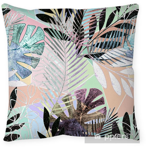 Seamless tropical pattern.Palm leaves on a colorful background. Throw Pillow - Graphic Resources