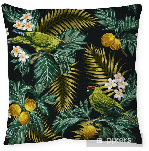 Seamless tropical pattern with leaves, flowers and parrots. Throw Pillow - Animals