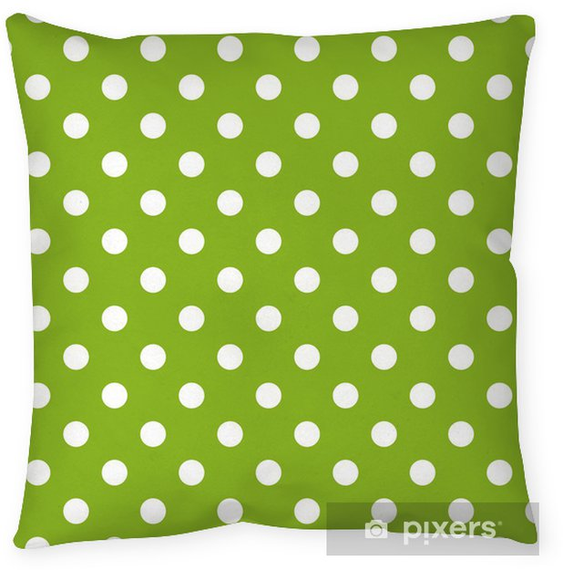 Seamless vector pattern with polka dots on green background Throw Pillow - Themes
