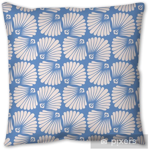 seamless vintage pattern with stylized seashells Throw Pillow - Graphic Resources