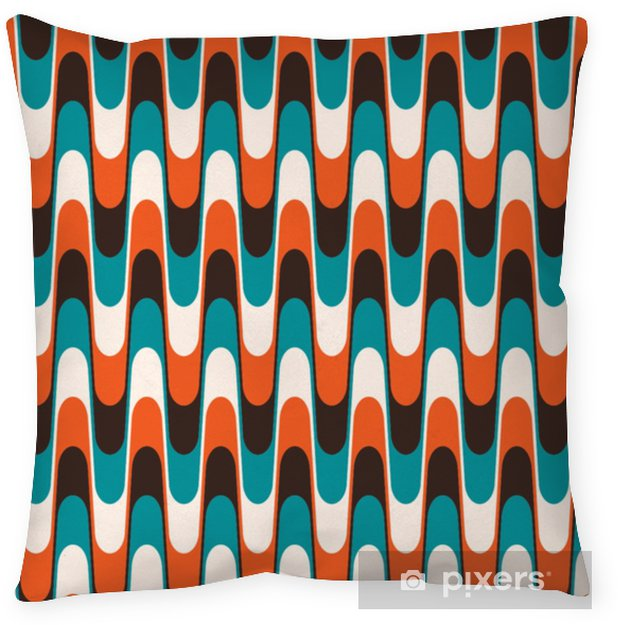Seamless vintage wavy pattern in mid century style. Throw Pillow - Graphic Resources