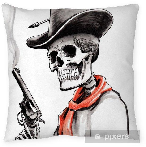 Skeleton with a smoking gun Throw Pillow - People