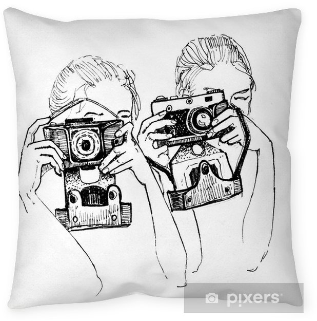 Sketch of two girl with cameras Throw Pillow - Hobbies and Leisure