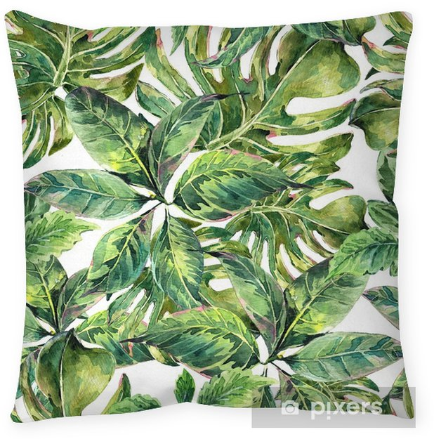 Summer exotic watercolor seamless pattern Throw Pillow - Hobbies and Leisure