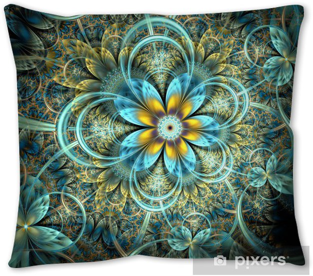 Symmetrical Dark Orange Blue Fractal Flower Throw Pillow Pixers We Live To Change