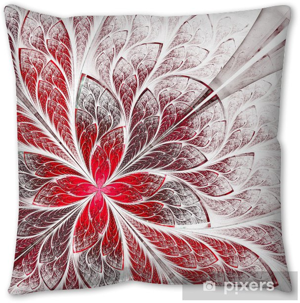 Symmetrical Flower Pattern In Stained Glass Window Style Red An Throw Pillow Pixers We Live To Change