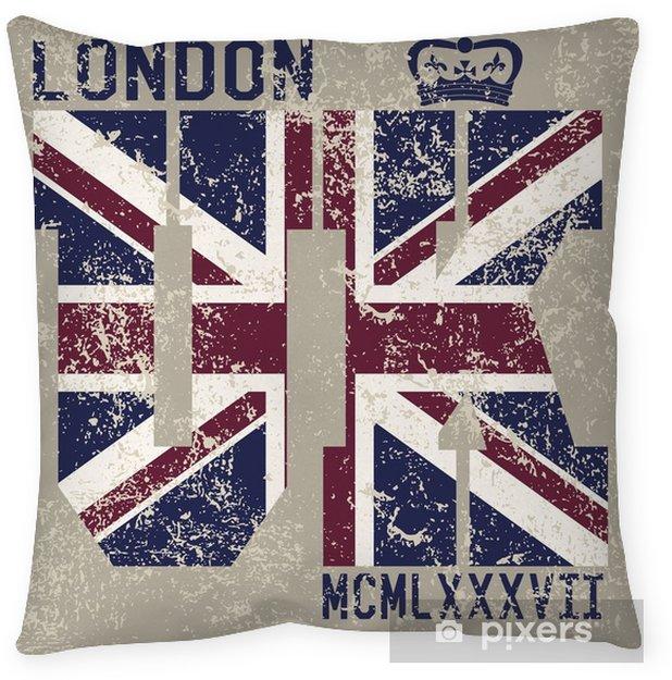 fb98d629b T-shirt Printing design, typography graphics, London United kingdom, grunge  flag vector illustration Badge Applique Label Throw Pillow