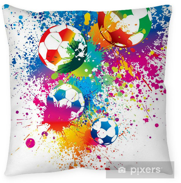The colorful footballs on a white background Throw Pillow - Signs and Symbols