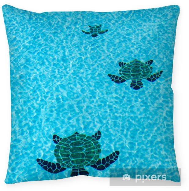 Three tiled turtles on bottom of swimming pool Throw Pillow