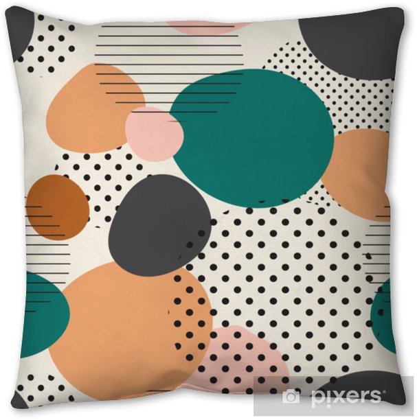 trendy seamless pattern of geometric shapes and doodles. Colorful pattern memphis style Throw Pillow - Graphic Resources