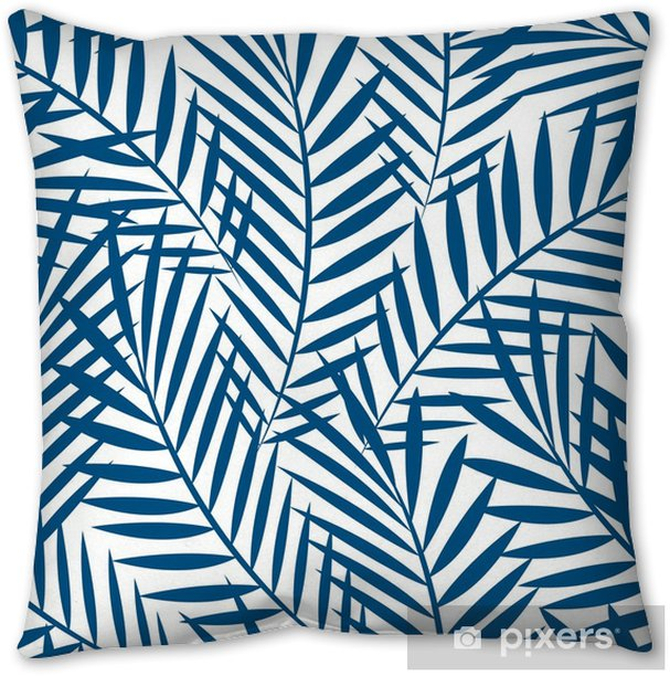 Tropical blue palm tree leaves in a seamless pattern Throw Pillow - Plants and Flowers