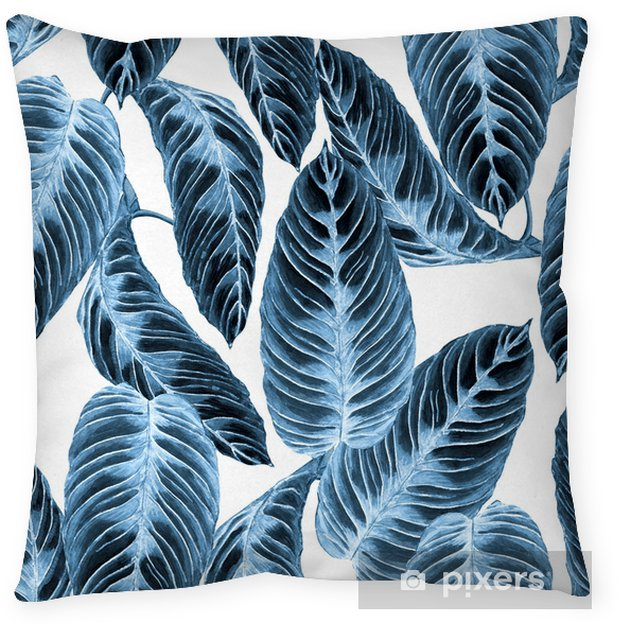 Tropical foliage seamless pattern. Colorful leaves of exotic Calathea Warscewiczii plant, blue trend hues on white background. Handmade watercolor illustration. Throw Pillow - Graphic Resources