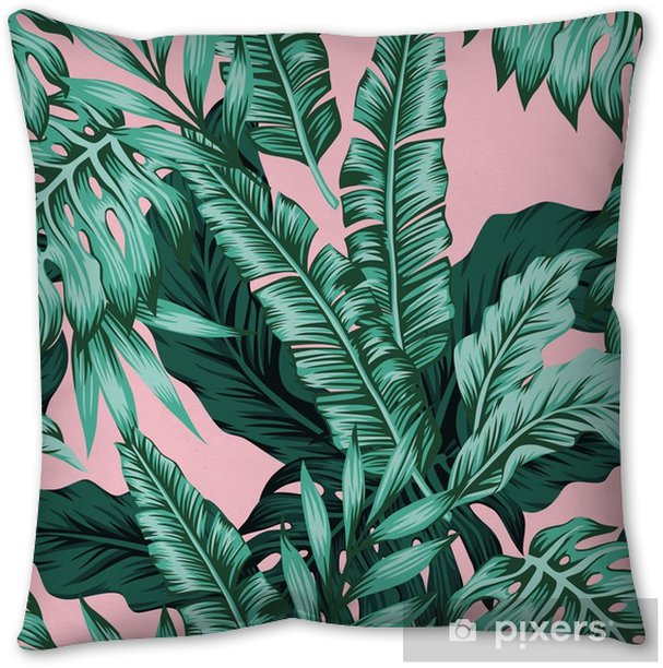 Tropical Leaves Green Seamless Pink Background Throw Pillow Pixers We Live To Change Download premium image of tropical leaves on pink background by jira about palm, pink, tropical, greenery and trendy 400770. pixers