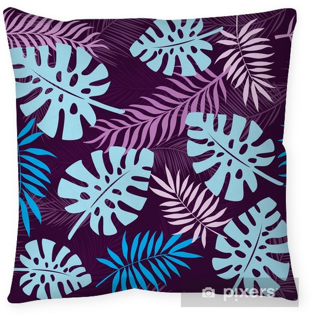 tropical leaves seamless pattern background Throw Pillow - Plants and Flowers
