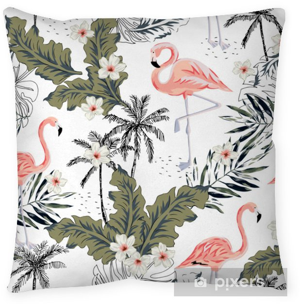 Tropical pink flamingo birds, plumeria flowers, palm leaves, trees white background. Vector seamless pattern. Graphic illustration. Exotic jungle plants. Summer beach floral design. Paradise nature Throw Pillow - Animals