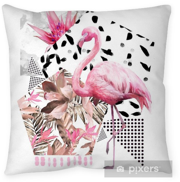 Tropical summer geometric poster design. Triangles and circle with grunge textures. Watercolor pink bird - flamingo. Exotic Abstract background, vintage. Hand painted illustration. doodles retro Throw Pillow - Animals