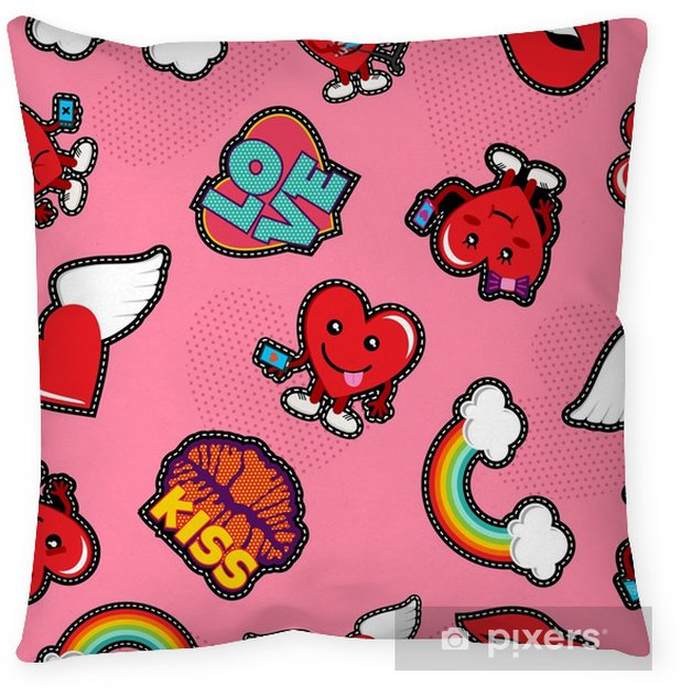 Valentines day social love emoji patch background Throw Pillow