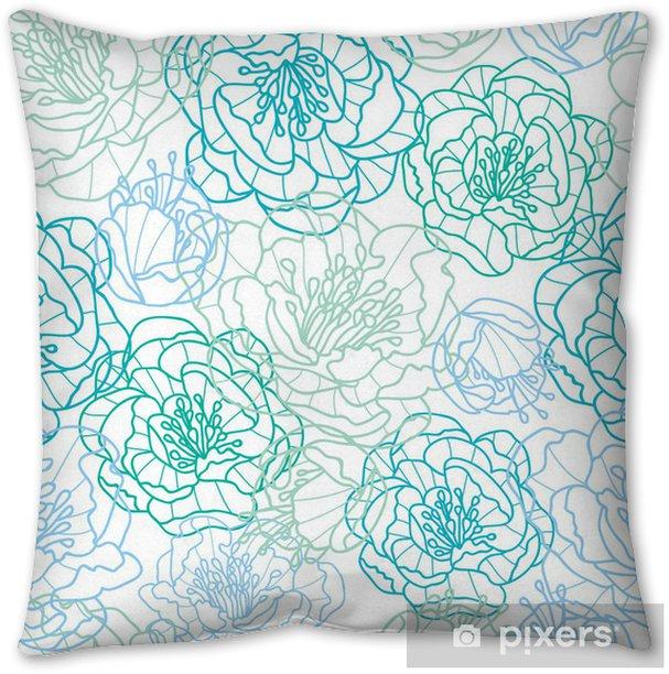 Vector blue line art flowers elegant seamless pattern background Throw Pillow - Flowers