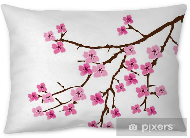 Vector Cherry Blossom Throw Pillow Styles