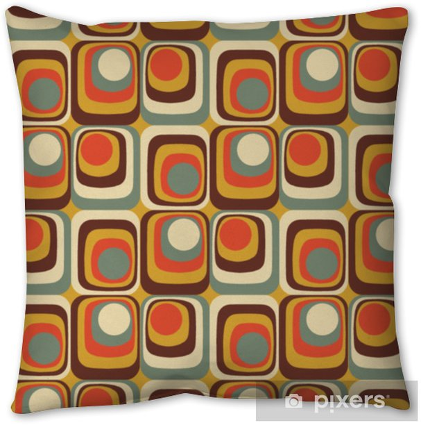 Vector Colorful abstract retro seamless geometric pattern Throw Pillow - Graphic Resources