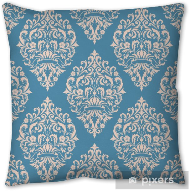 Vector damask seamless pattern background. Classical luxury old fashioned damask ornament, royal victorian seamless texture for wallpapers, textile, wrapping. Exquisite floral baroque template Throw Pillow - Graphic Resources