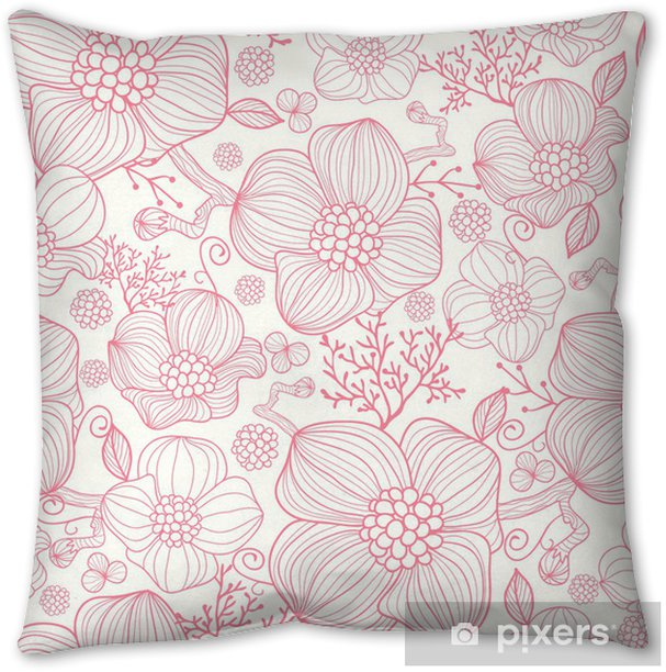 Vector red line art flowers elegant seamless pattern background Throw Pillow - Styles