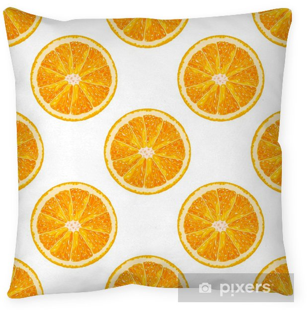 Vector seamless pattern of orange slice  Realistic citrus background Throw  Pillow