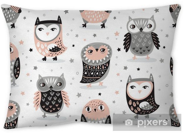Vector Seamless Pattern With Cartoon Owls Nursery Decor Throw Pillow