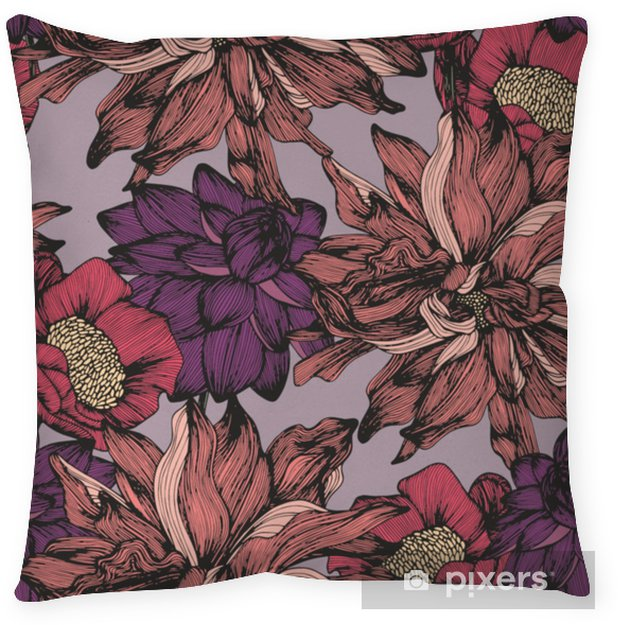 Vector seamless pattern with complex detailed colors. Hand drawing Throw Pillow - Plants and Flowers