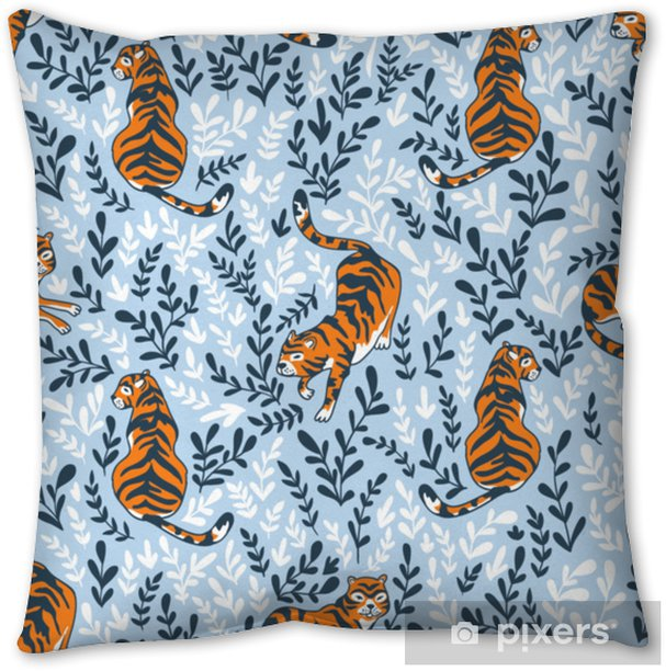 Vector seamless pattern with tigers isolated on the floral background. Animal background for fabric or wallpaper boho design. Throw Pillow - Graphic Resources