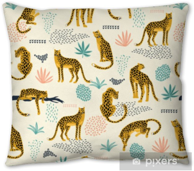 Vestor seamless pattern with leopards and tropical leaves. Throw Pillow - Graphic Resources