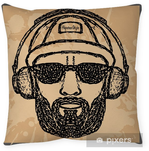 vintage Illustration of hipster style, vector illustration on th Throw Pillow - Lifestyle