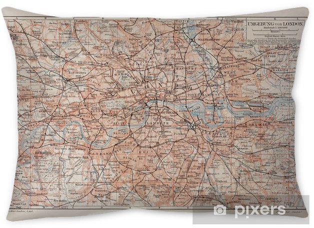Vintage map of London and surroundings Throw Pillow - Themes