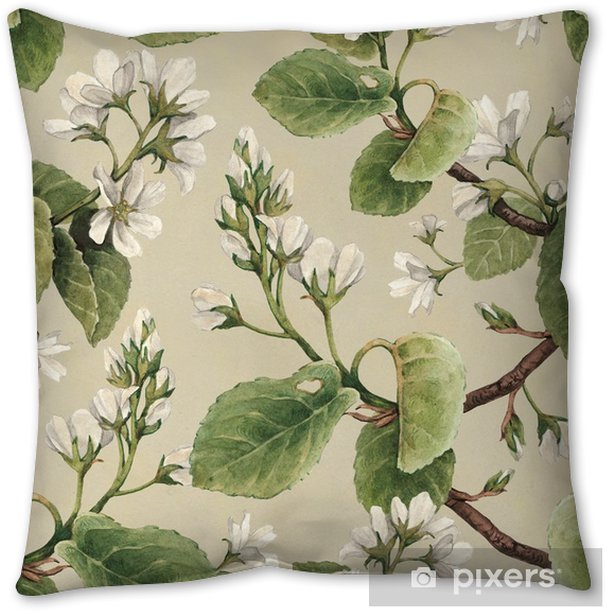 Vintage seamless pattern with watercolor apple flowers Throw Pillow - Plants and Flowers