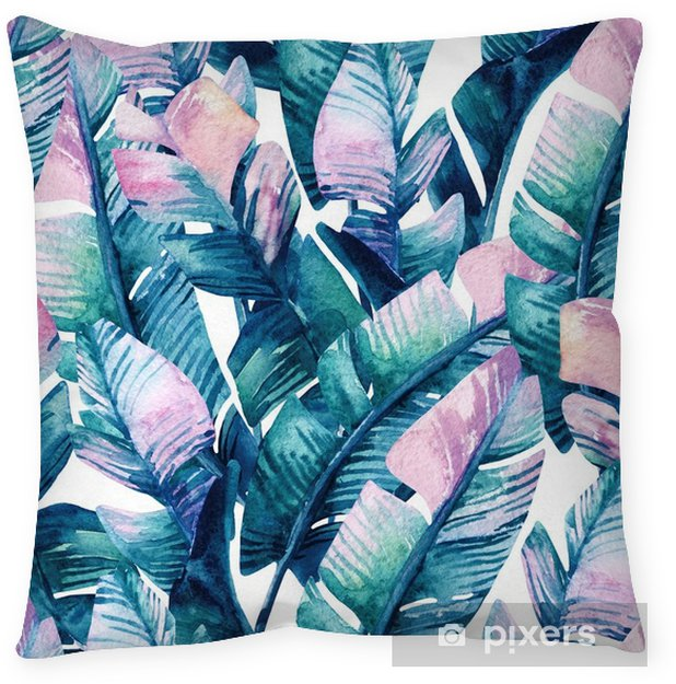 Watercolor banana leaf seamless pattern. Throw Pillow - Plants and Flowers