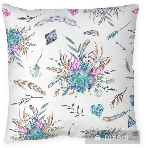 Watercolor Boho Pattern Throw Pillow - Graphic Resources